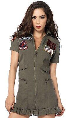 Leg Avenue Women's Top Gun Flight Zipper Front Dress Costume, Green, Medium Sexy