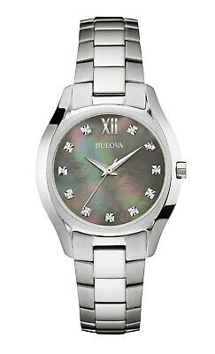 Bulova Women's Diamond Accents Black Mother of Pearl Dial 32mm Watch 96P158
