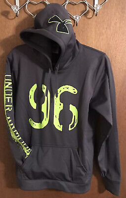 Under Armour Women's Athletic Hoodie Pullover Sweatshirt Gray Lime Green Med 💚