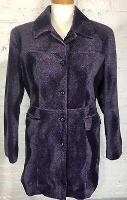(DOLLHOUSE Outerwear Coat Women's Medium M Purple Black Animal Print Velvet Feel)