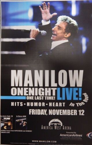 Barry Manilow Concert Poster One Night One Last Time Tour America West Arena