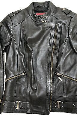 Women's John Richmond Black Leather Biker Jacket 10