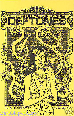"DEFTONES ""DILLINGER ESCAPE PLAN FUNERAL PARTY TOUR"" 2011 PORTLAND CONCERT POSTER"