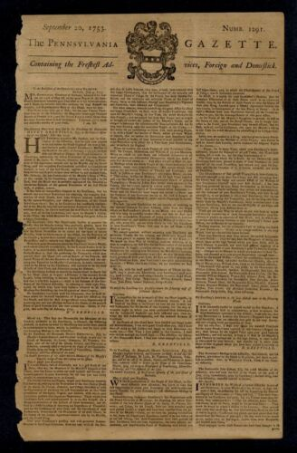 BENJAMIN FRANKLIN POSTMASTER PENNSYLVANIA GAZETTE 1753 PRINTED BY BEN FRANKLIN