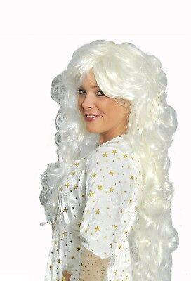 Engel Engelchen Perücke Langhaar Fee Feen Elfe Damen Kostüm Kleid Engelskostüm