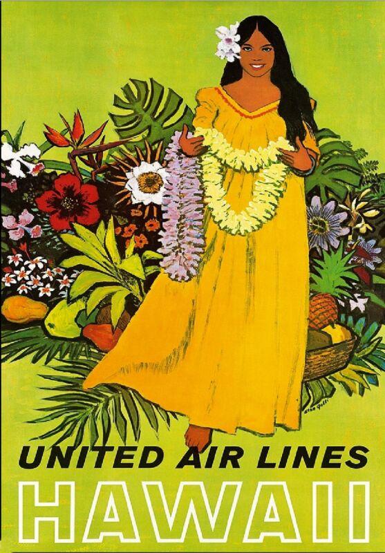 Hawaii Hawaiian Girl United States America Vintage Travel Advertisement Poster