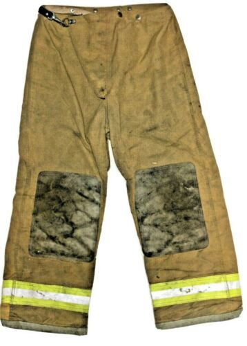 38x30 Globe Brown Firefighter Turnout Pants with Yellow Stripes No Liner PNL-23