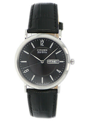 Citizen Eco-Drive Men's Black Dial Black Leather Strap 36mm Watch BM8240-03E