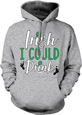 Irish I Could Drink - St Patricks Day Beer Pint Pub Clover Shamrock baby HOOD