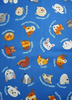 Whiskers & Tails Dog Breeds from Robert Kaufman Cotton Fabric AXN-16341-11