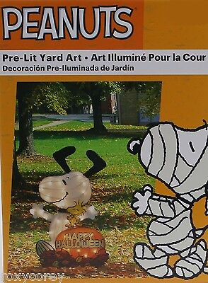Halloween Yard Art (Halloween Peanuts 24 in Snoopy Woodstock Pumpkin Happy Halloween PreLit Yard)