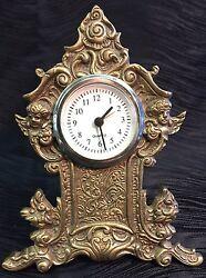 Antique Vintage Brass Cherub Art-Nouveau Desk Table Clock Flowers Ornate Rare