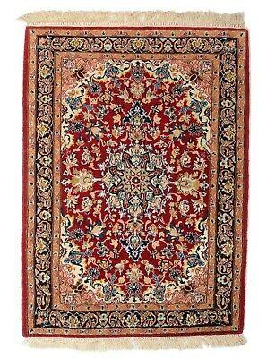 Isfahan 99 X 71CM Alfombra Oriental Anudada a Mano Persa Lana De...