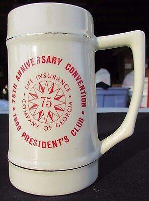 1966 Life Insurance Company of Georgia 75th Anniv. President's Club Stein
