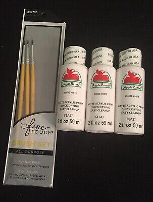 Lot 3 PLAID Apple Barrel Matte Acrylic Craft Paint WHITE Tan 6 fl.oz. + Brushes