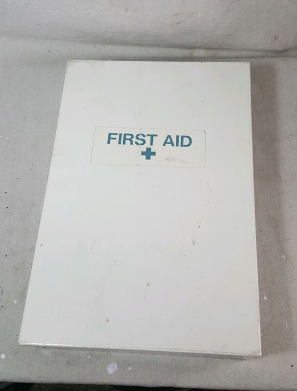 Large Wall Mount Metal First Aid Kit White 16 x 11 Full