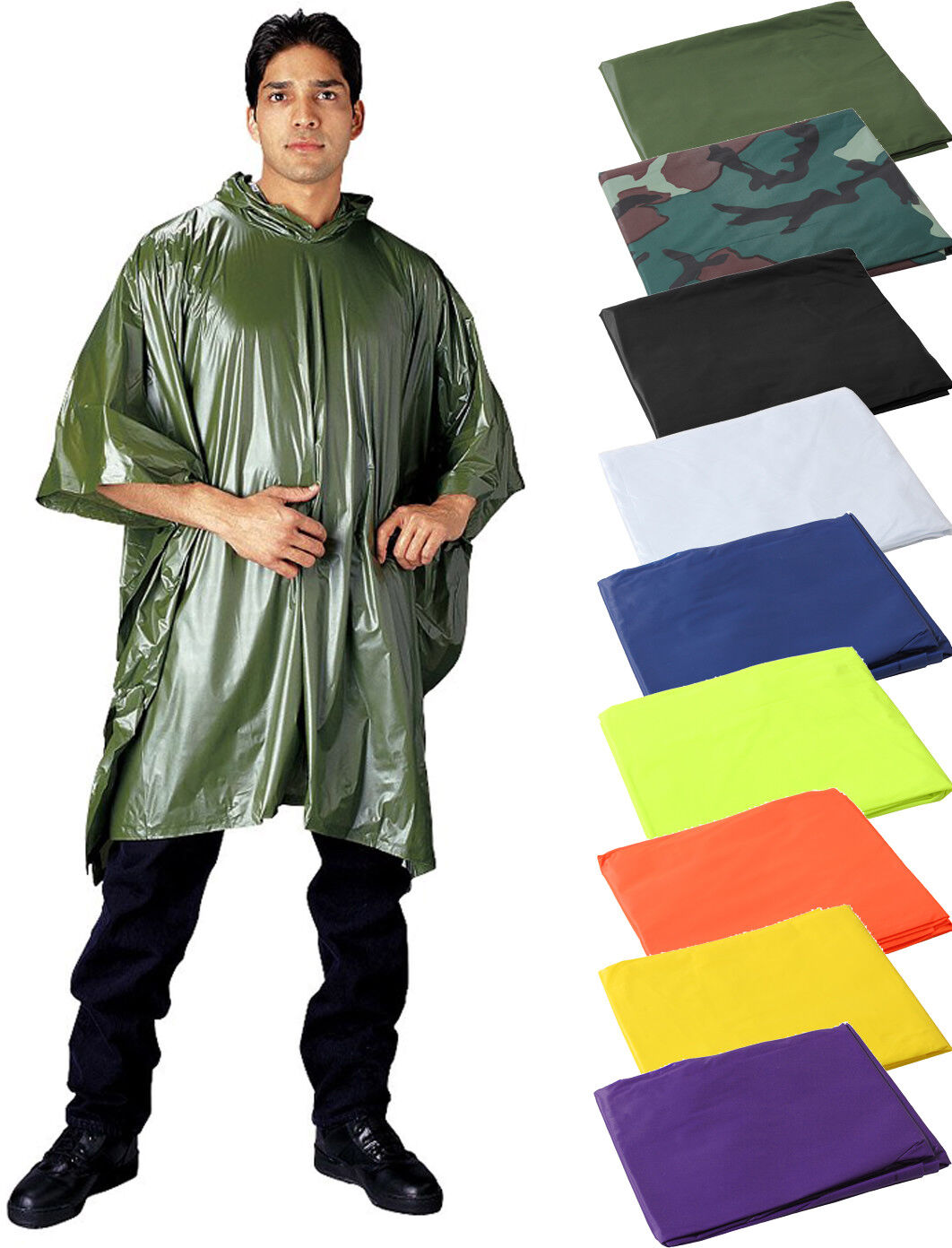 Rain Hooded Poncho, Waterproof Heavy Vinyl Reusable Emergenc