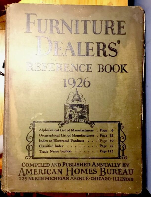 ANTIQUE BOOK 1926 FURNITURE DEALERS REFERENCE AMERICAN HOMES BUREAU INFO & ADV.