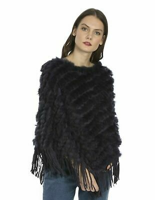 Jayley Navy Blue Fox And Coney Fur Suedette  Fringed Poncho One Size Bnwt