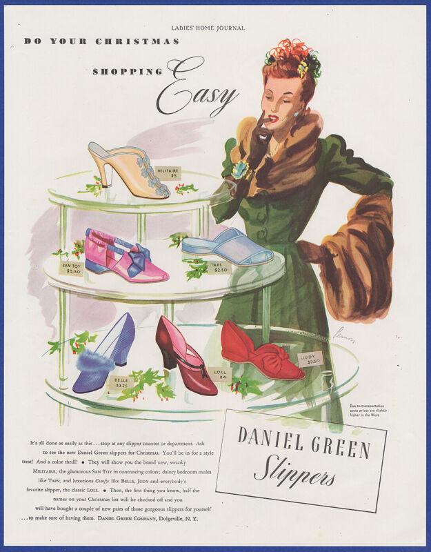 Vintage 1941 DANIEL GREEN Leisure Footwear Shoes Fashion Art Decor 40