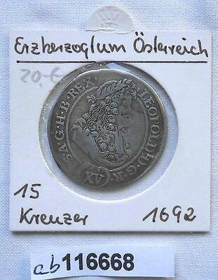 15 Kreuzer Silber Münze Österreich Kremnitz Bergstadt Leopold I.1692 (116668)