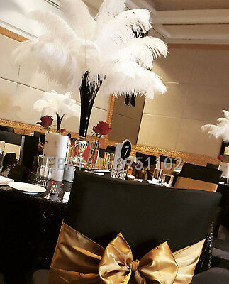 White Ostrich Feathers (Newest White Ostrich Feathers 14-16 inch/35-40cm 10/50/100 PCS Wedding)