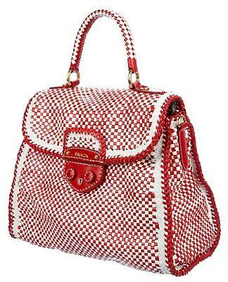 Prada Satchel Bag (PRADA Red White Check MADRAS Shoulder Satchel Hand Woven Leather Bag Top Handle)