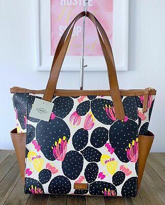 NWT FOSSIL Mimi Shopper Cactus Black Floral Tote Handbag SHB1909979 MSRP $128