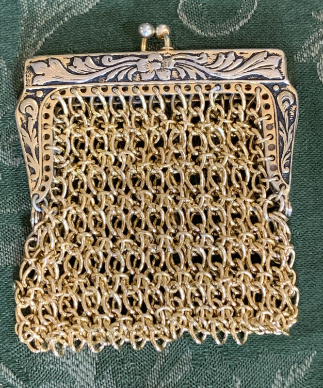 """Vintage Victorian Coin Purse Chain Link Gold Tone  Snap Clasp 3"""""""