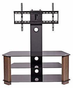 Black glass tv stand walnut legs for 32