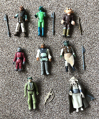 BUNDLE JOB LOT X 8 VINTAGE STAR WARS FIGURES With Genuine Accessories & Weapons
