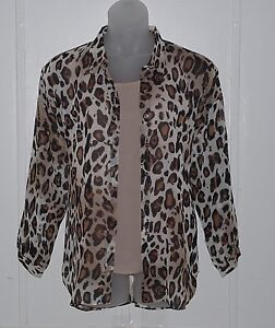 Joan Rivers Animal Print Sheer Blouse and Cami Size 1X Leopard