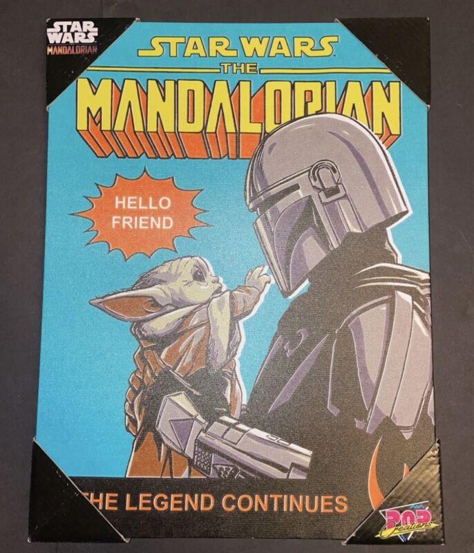 "Star Wars The Mandalorian Baby Yoda Pop Creations Wooden Wall Art 15"" X 11"" New"