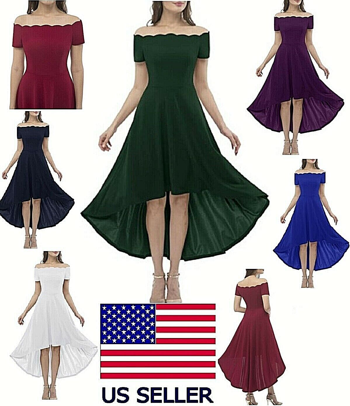Women's Vintage Swing Dress Off Shoulder Cocktail Party Dress Hi-Lo Formal Style Clothing, Shoes & Accessories