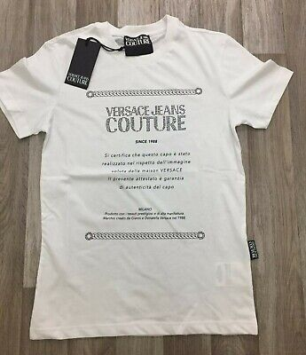 New Mens Versace Jeans Couture T-Shirt Casual Diamante Crew Neck White Size M