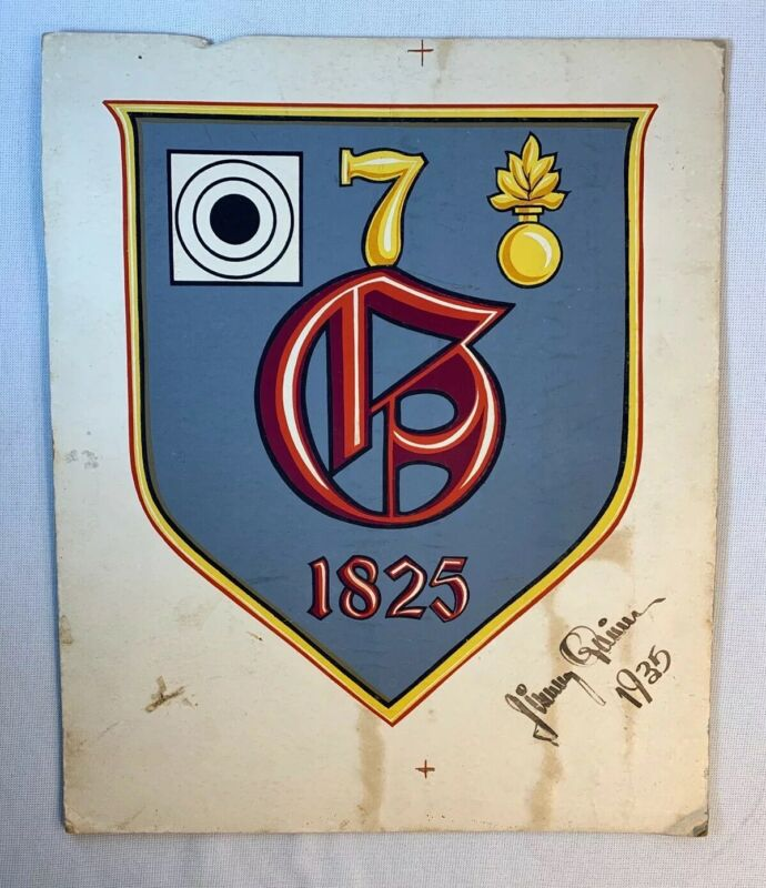 1935 Hand Painted Crest Insignia British? 7 G Ordnance Artillery Founded 1825