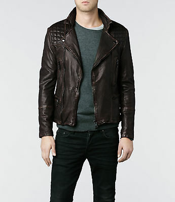 AllSaints Cargo Leather Biker Jacket M Brown
