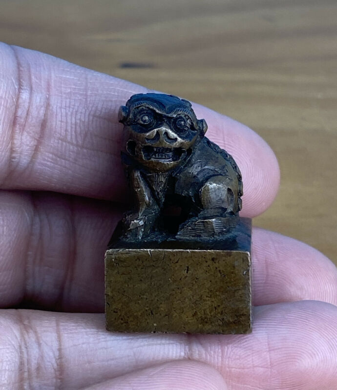 Nice Antique Chinese Bronze Seal Stamp Qing Dynasty Hand Carved Foo Lion