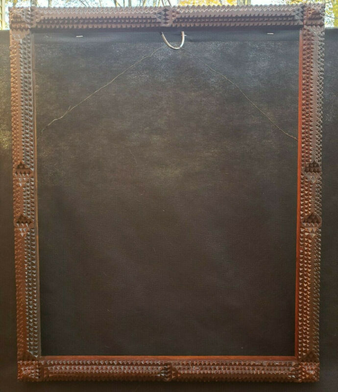 Antique 19th Century Early Tramp Art Wood Frame Size 15.5x19.5 in Good Condition
