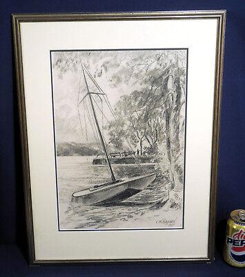 Carl Martin Raschen Pencil Drawing 1955 Sailboat Finger Lakes Upstate NY