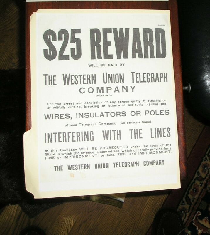 Rare Vintage Western Union Broadside