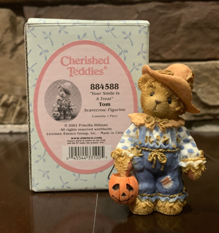 Cherished Teddies Tom 884588 Avon Exclusive Retired Scarecrow Figurine 2001
