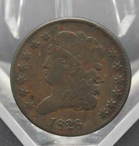 1826 CLASSIC HEAD HALF CENT XF CONDITION