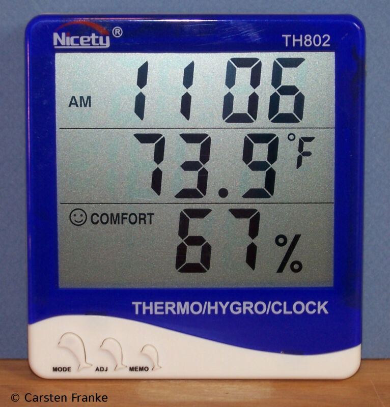Digital Indoor Temperature Humidity Meter Hygrometer RH Thermometer Clock 802