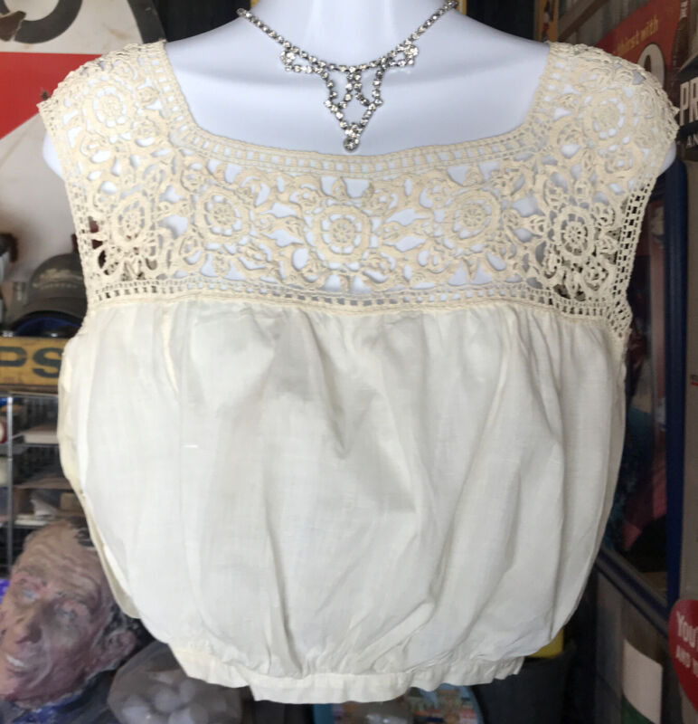 Antique Victorian / Edwardian Lace & Linen Corset Cover Camisole Brassiere Under