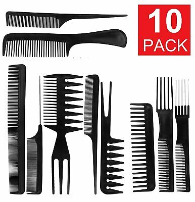 10Pcs Black Pro Salon Hair Styling Hairdressing Plastic Barbers Brush Combs Set Brushes & Combs