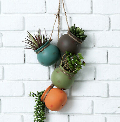 Dangling Multicolor Ceramic 4 Pot Set, Wall / Ceiling Mount