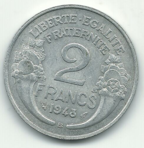 HIGH GRADE XF/AU 1948 B  FRANCE 2 FRANCS COIN-DEC232