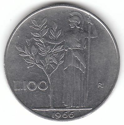 Italy 100 Lire 1966 Stainless Steel Coin - Minerva Holding Olive Tree
