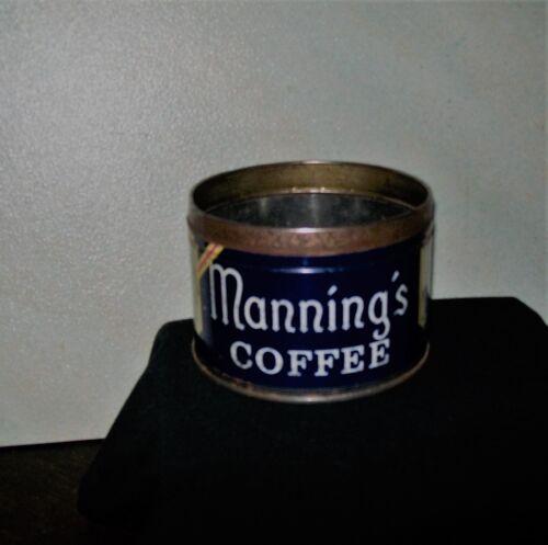 Vintage Mannings Coffee Tin 1 Lb